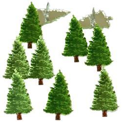 splitpennen zakje met 12 stuks dennenbomen