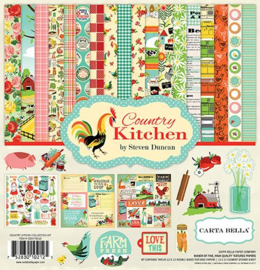 scrapbook papier set country kitchen boerderij  12 x 12 inch 13 delig