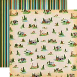 Fancy scrapbook paper kit camping en kamperen 30.5 x 30.5 cm