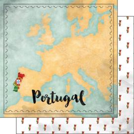 Portugal Map Sight - 30.5 x 30.5 cm scrapbook papier