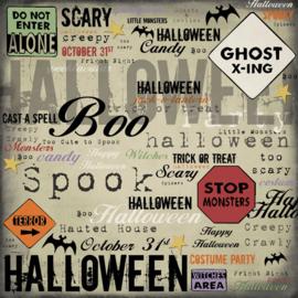Halloween Signs  -  papier voor scrapbooking 12 x 12 inch dubbelzijdig