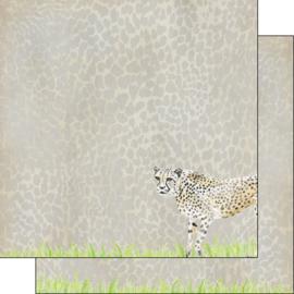 Cheetah-  watercolor - 30.5x30.5 cm - dubbelzijdig scrapbookpapier