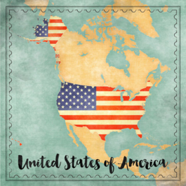 United States of America Map Sights - scrapbook papier