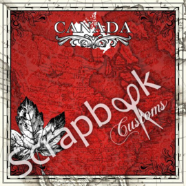 Canada - rood met Maple Leaf- 12x12 papier