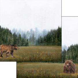 Bear -  watercolor - 30.5x30.5 cm - dubbelzijdig scrapbookpapier