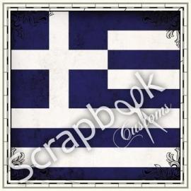 Griekse vlag - scrapbook customs papier - 30.5 x 30.5 centimeter