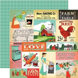 Carta Bella scrapbook paperkit set country kitchen boerderij  12 x 12 inch 13 delig