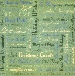 Kerstgroen woorden papier 30.5 x 30.5 cm