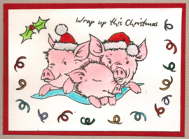 Kerst - Pigs in Blankets- A5 clear stempel set 15 x 20 cm