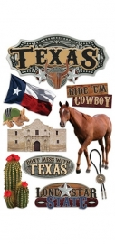 Cowboys en paarden in Texas  - 3D stickers