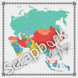 Asia - Memories Map - scrapbooking papier - 12 x 12 inch