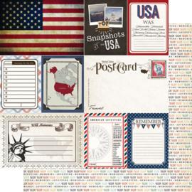 USA Journal- scrapbookpapier 30.5 x 30.5 cm
