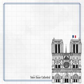 Notre Dame Adventure  - dubbelzijdig scrapbook papier