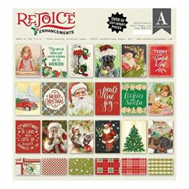 Scrapbook papier - Rejoice Enchancements Christmas / Kerst  knutselpakket 18 vellen (6 x 3)