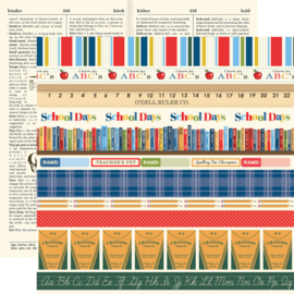 """Scrapbook papier - School Days schoolfoto knutselpakket met set gekleurd karton 12x12"""" (19-delig)"""