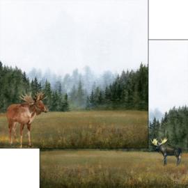 Elanden/Moose  links & rechts - 30.5x30.5 cm - dubbelzijdig scrapbookpapier