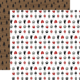 Animal Tracks - dierensporen Outdoor Adventure - dubbelzijdig 12x12 inch papier