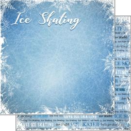 Ice Scating - Schaatsen - dubbelzijdig scrapbook papier 30.5 x 30.5 centimeter