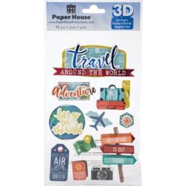 scrapbook stickers 11 travel thema stickers met 3d effect op een handig verzamelvel