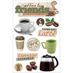 Koffie drinken met vrienden - 3D stickers