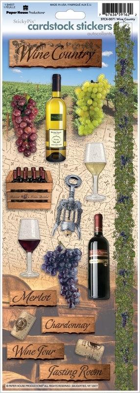 scrapbook stickers Wijn vakantie Paper House  productions Wine Country stcx-0071
