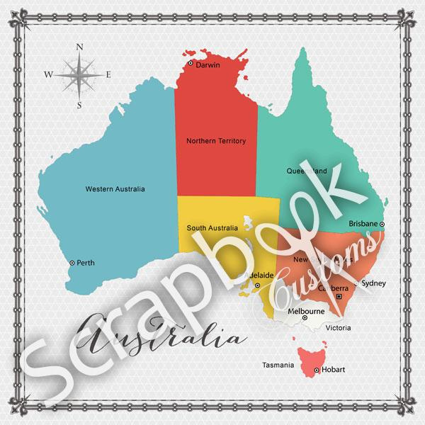 Australië - Memories Map - 12 x 12 inch