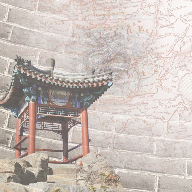 China plattegrond thema papier met pagode