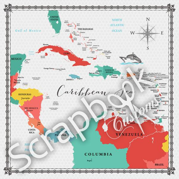 Caribbean Sea - Memories Map - papier - 30.5 x 30.5 cm