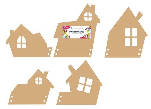 Dutch Doobadoo MDF 5 huisjes - 15cm x 17cm x 3mm