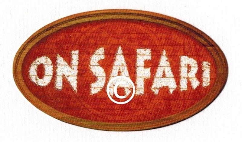 Tekstbord On Safari - glitter -stans decoratie - 8x5 cm