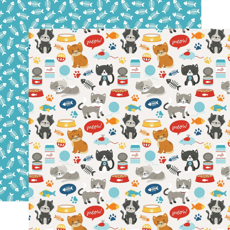 Dieren thema papier Meow - dubbelzijdig katten papier 30.5 x 30.5 cm