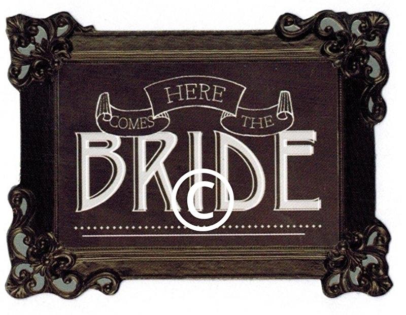 Here comes the bride - stans decoratie - 7x5 cm