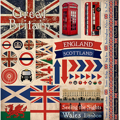 Great Britain - scrapbook stickers 30,5x30,5 cm
