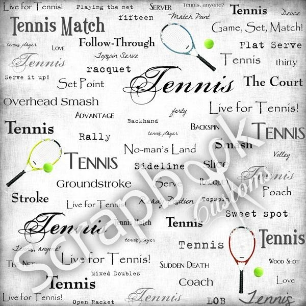 Tennis - papieren scrapbook achtergrond - 30.5 x 30.5 cm