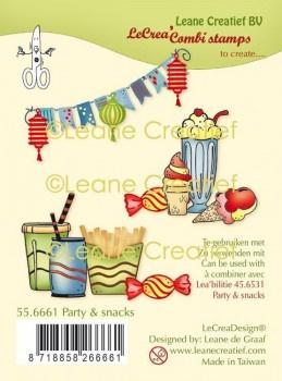 Party & Snacks / Feestje ijs en friet - Thema clear stempels (10-delig)