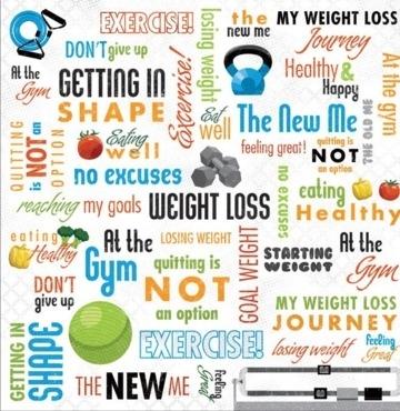 Karen Foster Weight Loss scrapbook papier 30.5x30.5 cm