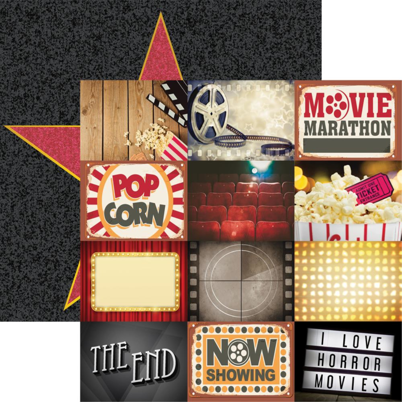 Movie Night - 30.5 x 30.5 cm scrapbook papier