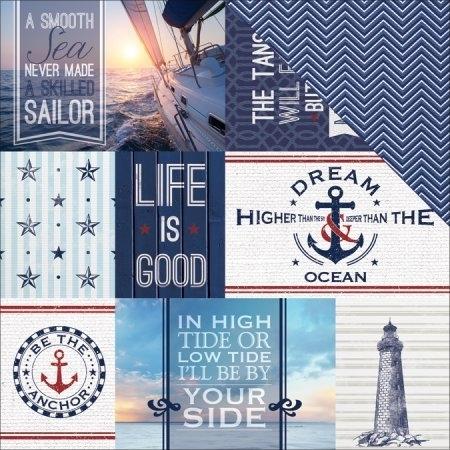 Nautical Tags - Scrapbook papier -  12 Inch X 12 Inch-