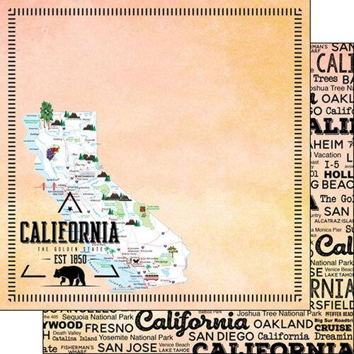 California - Postage Map dubbelzijdig 12x12 Paper