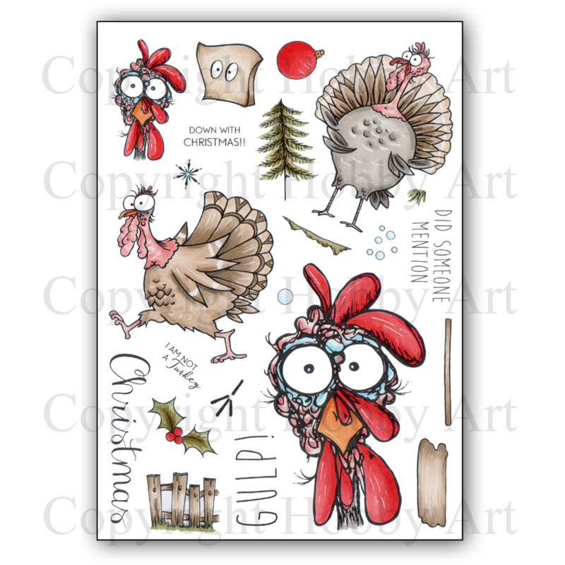 Kerst stempels - Daryl the Quirky Turkey - A5 clear stempel set 15 x 20 cm