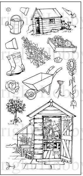 Allotment / tuinschuurtje Hobby stempelset