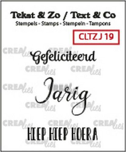 Crealies Tekst & Zo clear stamp - Jarig 19 (NL)