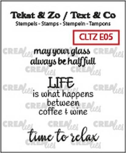 Crealies Tekst & Zo clear stamp - Tekst Wine (ENG)