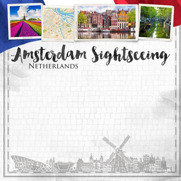 Amsterdam Sightseeing - 12x12 inch