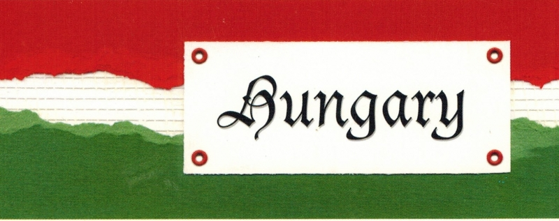 Hongarije title tag - karton 5 x 13,5 cm
