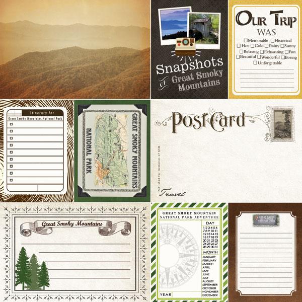Great Smoky Mountains - Journal - 12x12 dubbelzijdig scrapbookpapier