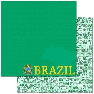 Brazil paspoort scrapbook papier 30.5 x 30.5 cm