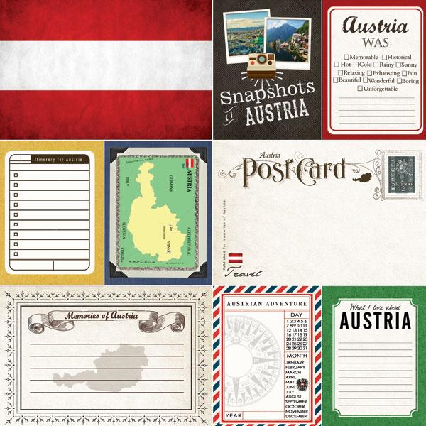 Austria scrapbook papier - 12 x 12 inch - scrapbook customs