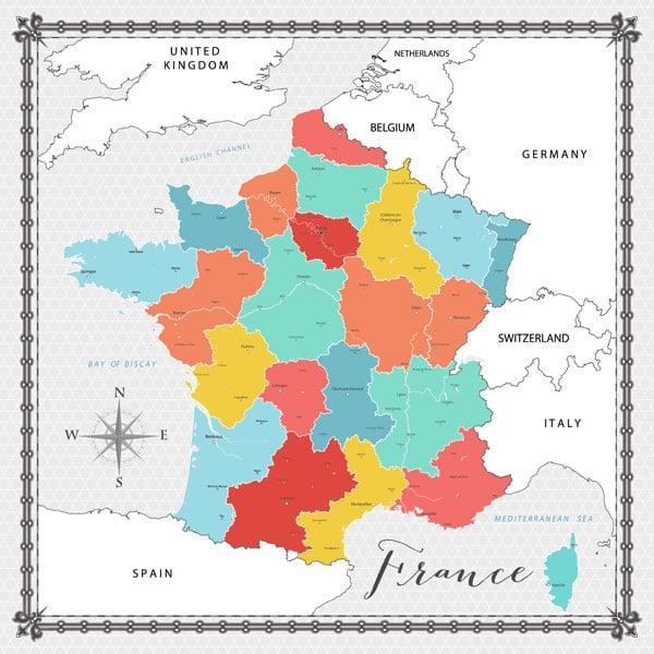 France Memories Map - papier 30.5 x 30.5 cm