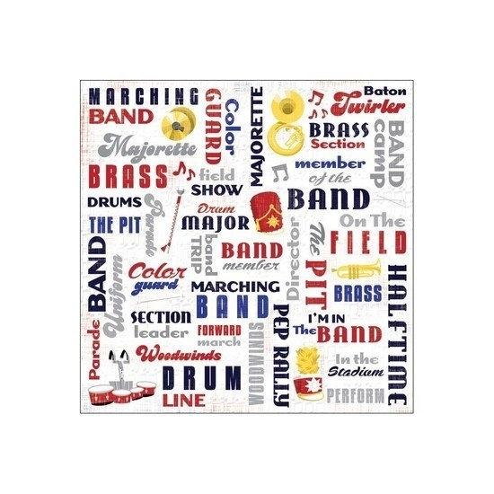 Drumband woorden papier 30.5 x 30.5 cm
